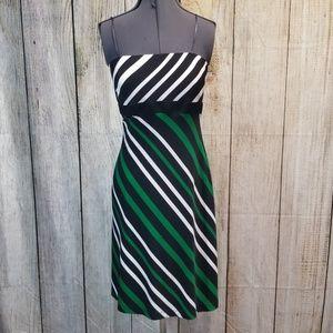 Cache Green Black White Party Dress sz 8